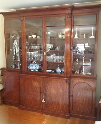 Antique Early Victorian Breakfront Mahogany Glazed Display Cabinet Bookcase VGC