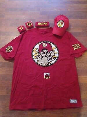 1ba0808b866f8f WWE Authentic John Cena 2014 Red Costume T-shirt Hat Wristbands XXL T SHIRT