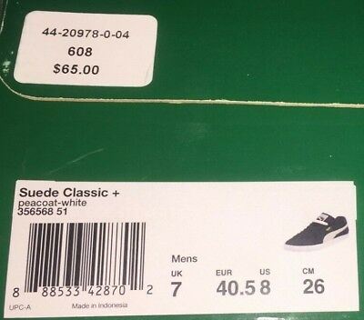 5e74e52f65b672 Puma Mens Sneakers Suede Classic Plus Peacoat White 356568-51 Very Lightly  Used