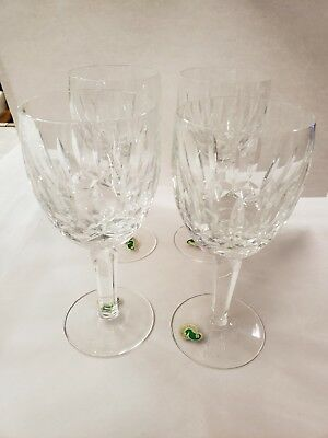 Gorgeous Set 4 Waterford Cut Crystal Tall Water Goblets - Kildare
