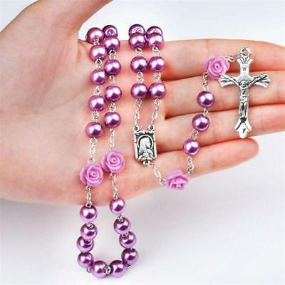 Catholic Faux Pearl Beads Rosary  Our Rose Lourdes Medal & Cross Necklace F