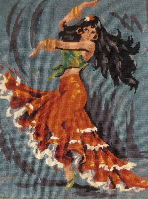 "Complete Vintage cotton needlepoint  tapestry dance dancer 18""x14"""