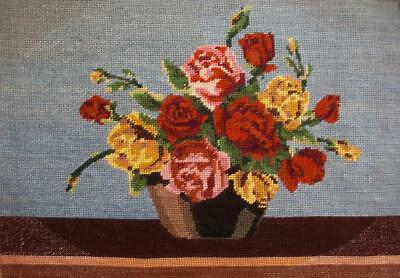 "vintage completed cotton needlepoint tapestry flowers roses vase 19.5""x13"""