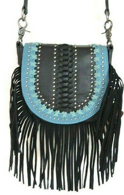 4f654c776e3c8 TAN LEATHER FRINGE Messenger Bag with Hair on Leather Front Flap by ...