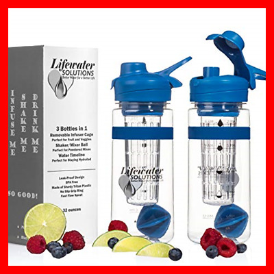 3 In 1 Sport/Shaker/Fruit Infuser Water Bottle Hydration T BLUE 32 Ounce/1 Liter