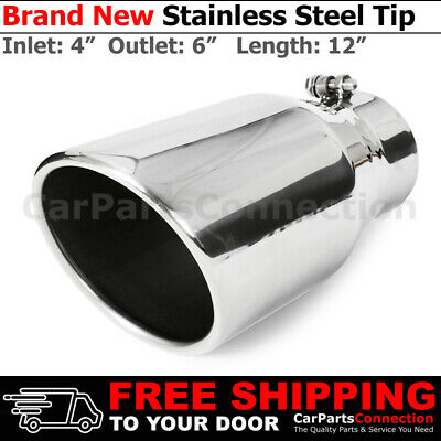 2 Stainless Truck Angled 18 inch Weld On Exhaust Tip 2.25 In 3.5 Out 202078