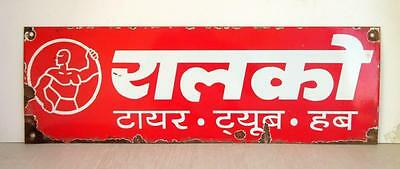 Vintage Old Collectible Indian Rare Ralco Tyre Ad Porcelain Enamel Sign Board