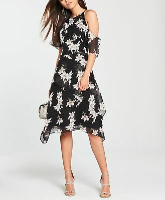 4e9bbe6e5cf NEW V by Very Ruffle One Sleeve Dress - BLACK PRINT - SIZE 8 - RRP