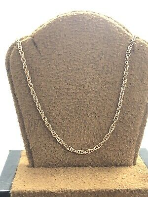 """Beautiful 14KT Rose Gold 585 Multi Linked Chain Necklace 21.25"""" Long 2 MM Wide"""
