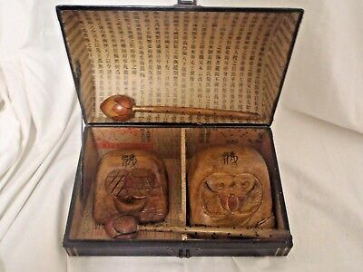 Pair of Chinese or Japanese Buddhist Temple Ritual Drum Vintage old Signatures