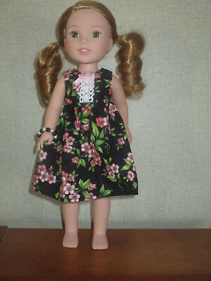 """HANDMADE FLORAL PRINT DRESS Fits 14.5"""" Wellie Wishers Doll American Girl Clothes"""