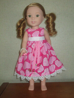 """HANDMADE VALENTINE DRESS Fits 14.5"""" Wellie Wishers Doll American Girl Clothes"""