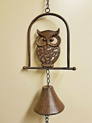 Rustic Cast Iron Hanging OWL Bell Wind Chime Supper Bell Hanging Decor - Unique
