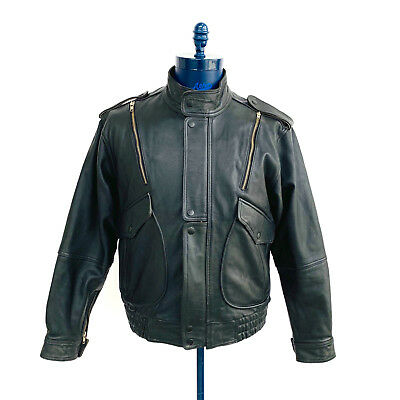 Vintage Yamaha Black Leather Motorcycle Biker Jacket Mens Size 42