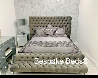 Chesterfield Ambassador Bed Frame With Matching Footstool | Brown Grey Black