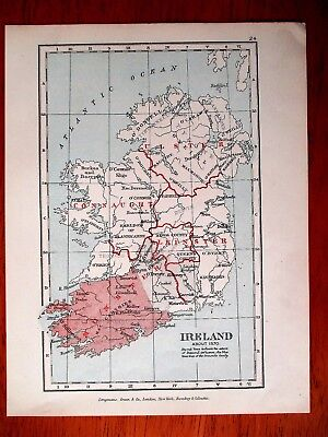 """1907 Vintage Map of Ireland in about 1570 AD 8.5"""" x 6.5"""""""