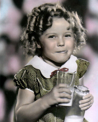 """SHIRLEY TEMPLE CHILD ACTRESS & MOVIE STAR 8x10"""" HAND COLOR TINTED PHOTOGRAPH"""
