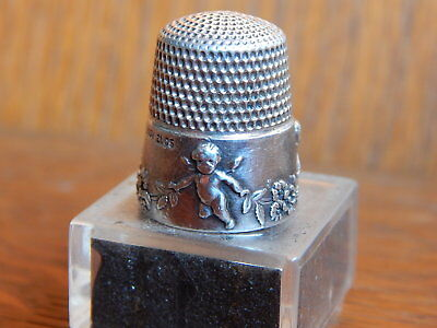 Antique 1905 Cupid Sterling Silver Thimble Size 10 Simons Bros Forget Me Nots