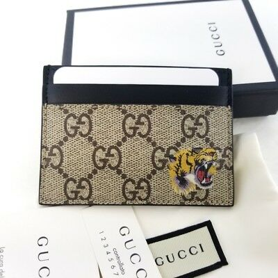 52034397e1be Authentic GUCCI GG Supreme Tiger Card Holder Wallet 451277 K5X1N 8666