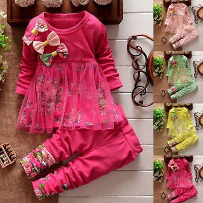 New Toddler Kids Baby Girl Clothes Floral T Shirt Tops Dresses Pants Outfits Set