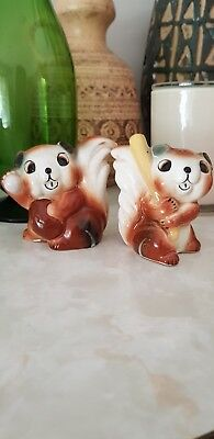 Vintage Kitsch Squirrel Salt And Pepper Shakers Made In Japan