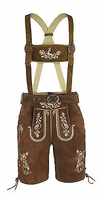 Men's Costume Pants Leather Trousers Traditional Set Strap Belt Brown Embroidery