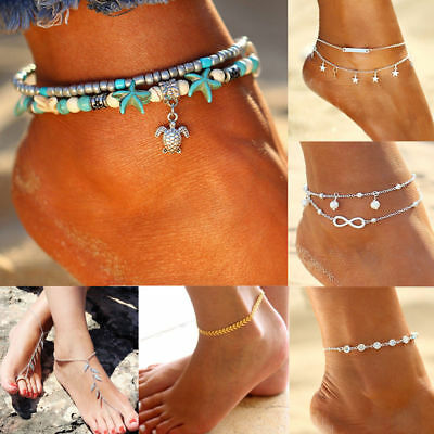 Hot Boho Starfish Turquoise Beads Sea Turtle Anklet Beach Sandal Jewelry Gifts