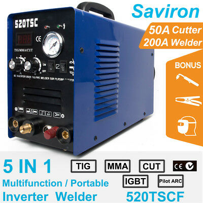 3 In 1 Multiprocess TIG Stick Pilot Arc Welder Plasma Cutter With Foot Pedal New