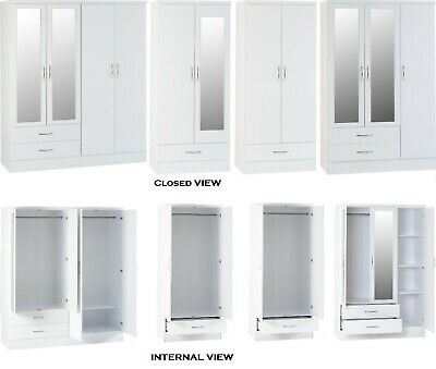 Nevada White High Gloss 2 Door, 3 Door, 4 Door Wardrobes With Mirrors & Drawers