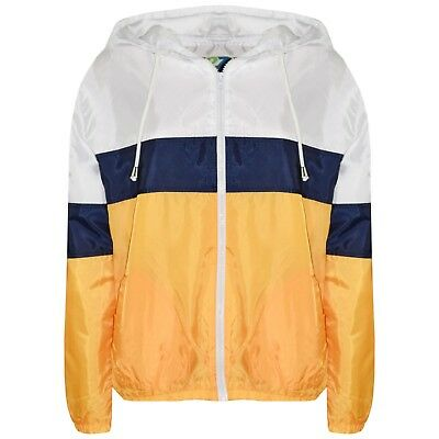 Kids Girls Windbreaker Contrast Block Jacket Mustard Hooded Kagoul Raincoat 5-13