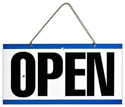 Double Sided Plastic Open And Closed Sign With Return Time Clock