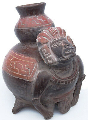 Pre-Columbian Mayan pottery Figure Bowl Mexican Statue Effigy Mexico Aztec Inca