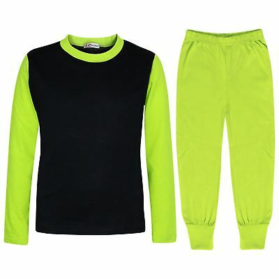 Kids Girls Boys Pjs Contrast Lime Color Plain Stylish Pyjamas Set Age 2-13 Years
