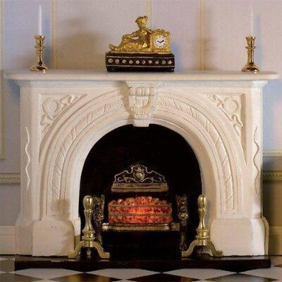 Dolls House Miniature 1:12th Scale White Carved Stone Fireplace Surround & Fire