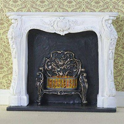 Dolls House Miniature 1:12th Scale White Rococo-Style Fireplace Surround & Fire