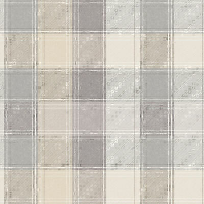Arthouse Country Checked Beige & Grey Quality Tartan Wallpaper 901902