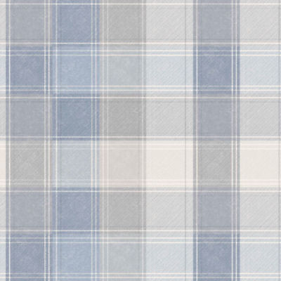 Arthouse Country Checked Blue & Grey Denim Quality Tartan Wallpaper 902808