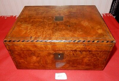 Antique Burr Walnut Writing Slope with Brass Stringing and Inlaid Edging (A12)