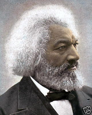 """FREDERICK DOUGLASS AFRICAN AMERICAN ABOLITIONIST 8x10"""" HAND COLOR TINTED PHOTO"""