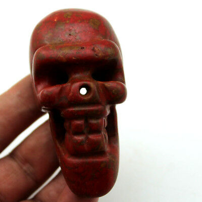 """P003 Ancient Hongshan Cultures Red Turquoise Jade Skull Amulet Pendant 3.4"""""""