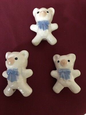 Set Of 3 Vintage Ceramic Macrame Beads Teddy Bear Blue Bow New Old Stock 3""