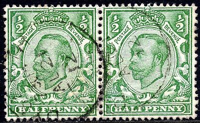 1911-2 2x  ½d  SG339 Green Downey Head Imperial Crown Wmk Good Used with CDS