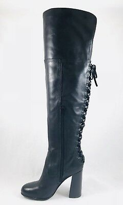 32fdc88b17a Vince Camuto Tolla Laced Over the Knee Boots Black Leather Heel Size 6 -  Blemish