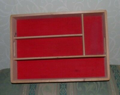 Vintage Wooden Four Section Cutlery Tray Compartment Drawer Organiser Holder