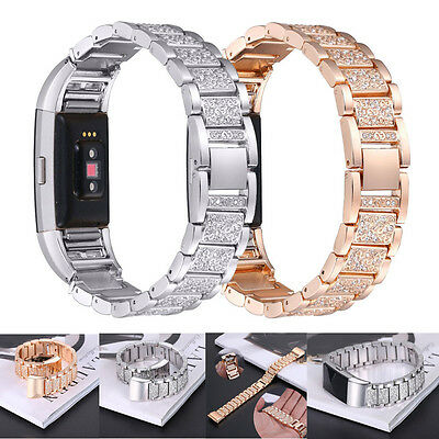 Rose Gold Diamond Stainless Steel Watch Wristwatch Strap Band For Fitbit Charge2
