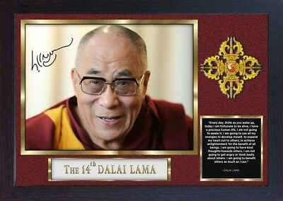 Dalai Lama signed poster autograph photo print Large 19x14 Framed FOR HAPPINESS