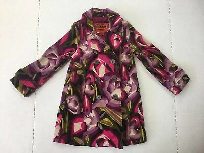 NWT Missoni Target Toddler Girl Printed Corduroy Trench Coat Purple 2T 3T 4T 5T
