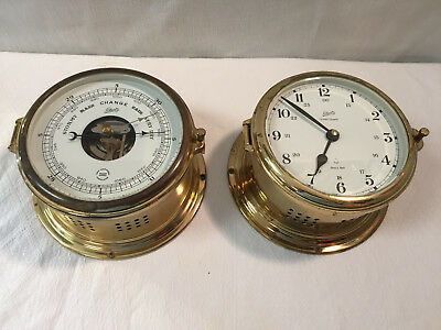 Vintage Schatz Ships Bell Brass Barometer & Clock West germany ,Unchecked As is.