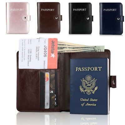 Premium Leather Passport Holder Travel Wallet RFID Blocking ID Card Case Cover