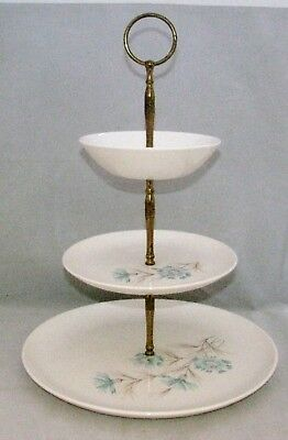 Taylor Smith & Taylor BOUTONNIERE Earthenware Blue Flowers 3-TIERED SERVING TRAY